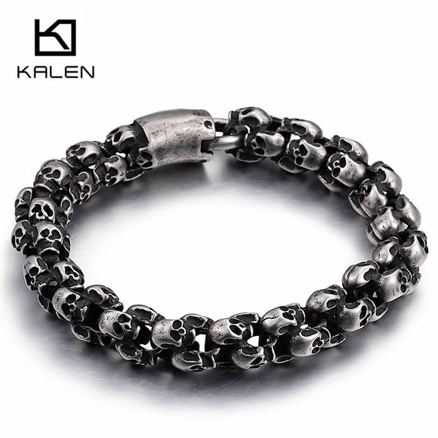 Kalen novo punk escovado crânio charme pulseiras para homens de aço inoxidável gótico fosco preto esqueleto pulseira masculino pub jóias 2017
