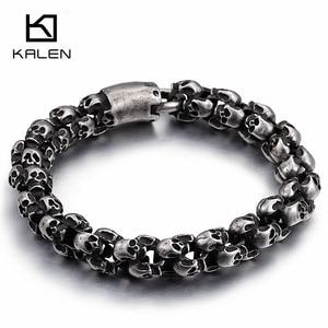 Image 1 - Kalen pulsera de acero inoxidable con calavera cepillada para hombre, brazalete gótico, esqueleto negro mate, joyería para Pub, Punk, 2017