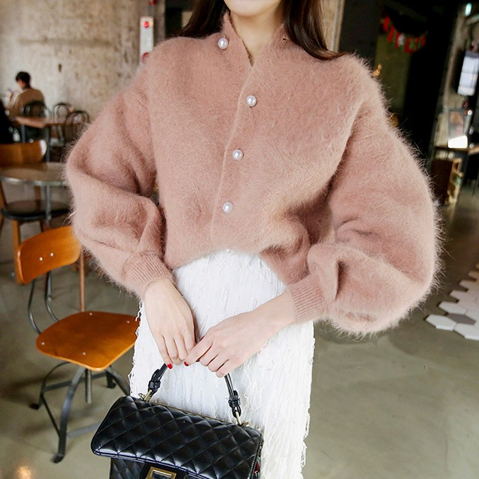 Thick Korean Elegant Mink Cashmere Cardigan Women 2019 Soft Pearl Button Lantern Sleeve Sweater Cardigan Warm Jumpers LT980S50(China)