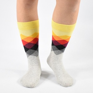 Image 4 - Men Socks New Sale 2019 6 Pair/lot Gift Box Cool Mens Happy Diamond pattern Socks Combed Cotton Novelty Gifts Socks Men