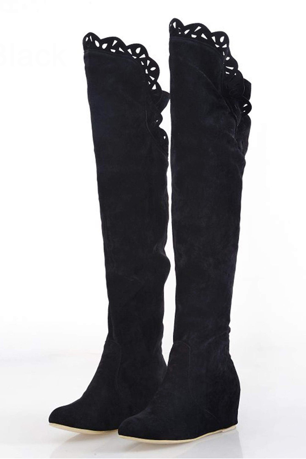 TEXU Women Stretch Faux Suede Slim Thigh lace High Boots Sexy Fashion Over the Knee Boots High Heels Woman Shoe 35-39