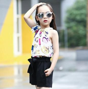 Teen Girls Clothes Set Summer Children Outfits Chiffon Clothing Sets For Girl Kids Vests & Shorts 2 Pcs/ Suits