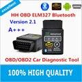 100% Высокое Качество Горячей Авто HH ELM327 Bluetooth OBD 2 OBD II Диагностический Инструмент Сканирования elm 327 Сканер бесплатная доставка доставка