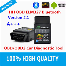 100% Hight Quality Hot Auto Car ELM327 HH Bluetooth OBD 2 OBD II Diagnostic Scan Tool elm 327 Scanner free shipping