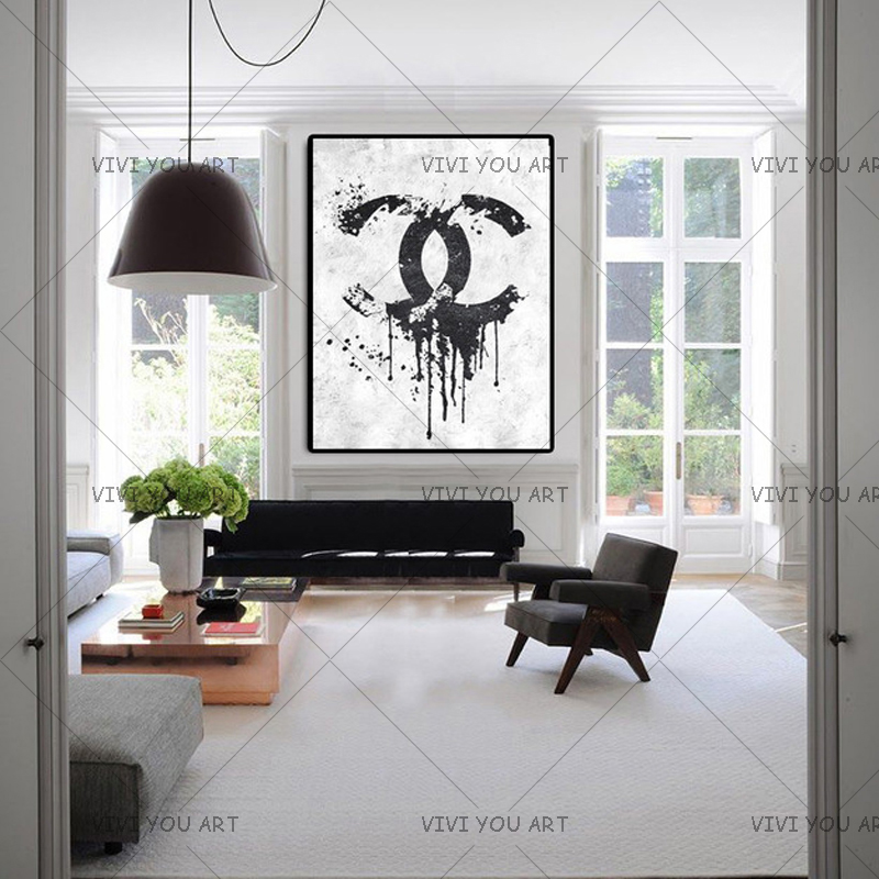 Christmas Gifts Handmade high quality thick knife abstract oil painting Black And White Channel abstract on
