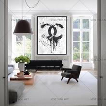 Kerstcadeaus Handgemaakte Hoge Kwaliteit Dikke Mes Abstract Olieverfschilderij Zwart En Wit Kanaal Abstract Op Canvas Schilderij