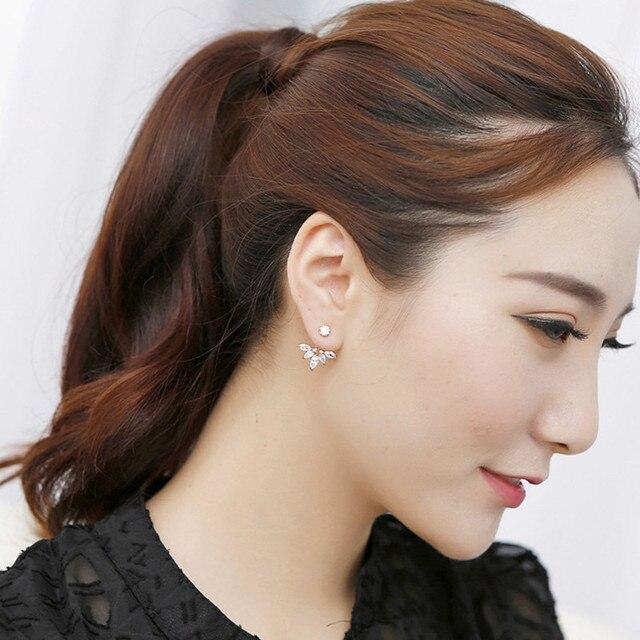 Crystal Flower Double Sided Gold Silver drop earrings For Women fashion Jewelry  4