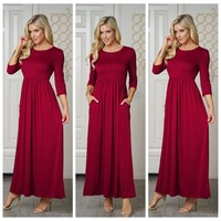 d1630dcf6509a9 ... Mouwen Lange Jurken Dames V hals Holiday Vestidos. Autumn Womens Dress  Tree Quater Sleeve Vintage Midi Dresses Pleated Long Dress Woman Elegant  Party ...