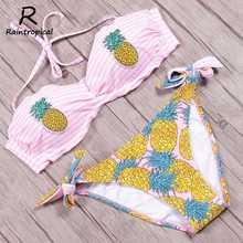 Raintropical Сексуальная Высокая шея Холтер Цветочные Купальники женский купальный костюм с бандажом печати бикини набор купальный костюм купальная одежда