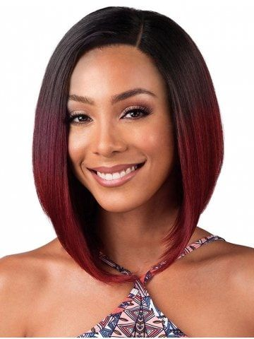 Short Brazilian Ombre Lace Front Human Hair Straight Bob Wig With Closure With Baby Hair 1B 99j 13*6 Swiss Lace Wig Highlight(China)