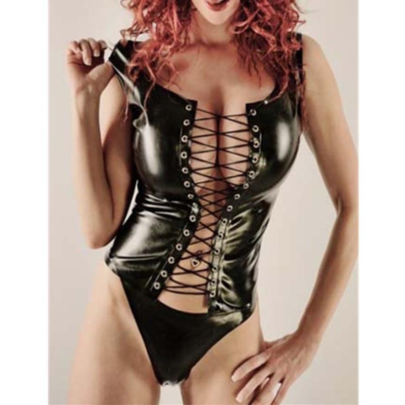 Plus Size Adult Black Two-piece Set Nightclub Patent Leather Clothing Women Faux Leather Bodycon Fetish Jumpsuit PVC Bodysuit