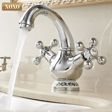 XOXO Basin Faucet Hot and Cold Golden Chrome Brass Dual Holder Single Hole Dual Handle Classic Deck Mounted Mixer faucet 60005C