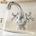 XOXO Becken Wasserhahn Heißen und Kalten Goldene Chrome Messing Dual-Halter Einzel Loch Dual Griff Klassische Deck Montiert Mixer wasserhahn 60005C