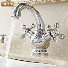 XOXO robinet de lavabo laiton chromé, chaud et froid, double support, double poignée à trou unique, robinet mitigeur classique monté sur le pont 60005C