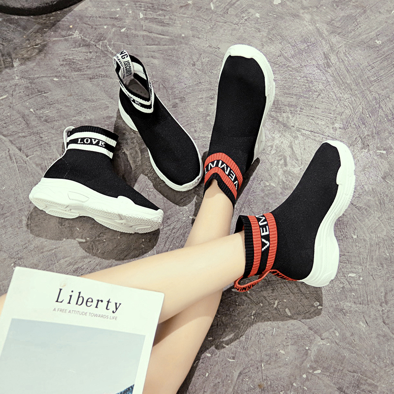 Sock Boot Fashion Woman Ankle Boot Stretch Fabric Short Boot Soft Thick Bottom Student  Boots Mujer Single Street Dance ShoesSock Boot Fashion Woman Ankle Boot Stretch Fabric Short Boot Soft Thick Bottom Student  Boots Mujer Single Street Dance Shoes