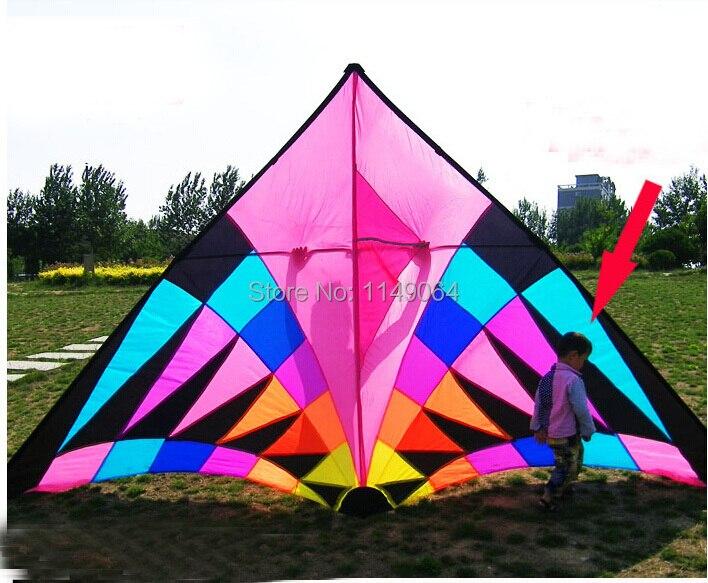 Livraison gratuite haute qualité 3.7m grand arc-en-ciel delta cerf-volant avec ligne de cerf-volant contrôle facile ripstop nylon tissu cerf-volant volant weifang