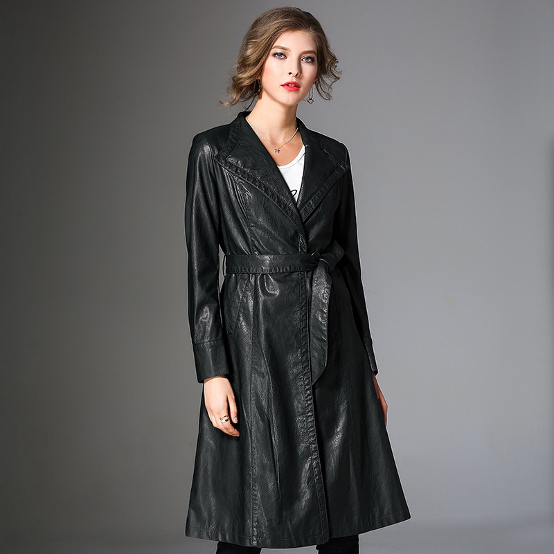 European 2019 Fashion Women Long Pu Leather Jacket Sashes Slim Fit Office Ladies Leather Trench Lapel Collar Work Outwear Coat