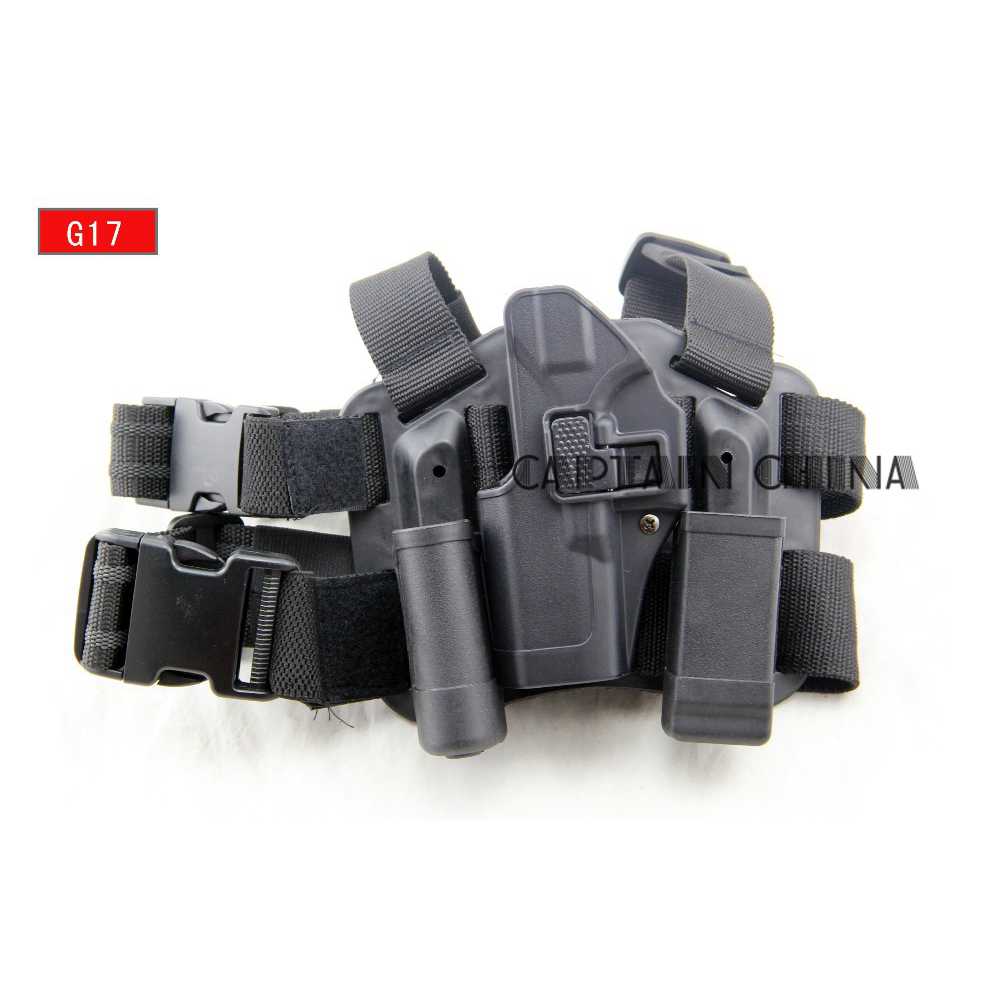 Tactical holster Glock left leg thigh holster with magazine pouch Left hand Gun holster for Glock 17 19 22 23 31 tactical glock leg holster left hand paddle thigh belt drop pistol gun holster w magazine torch pouch for glock 17 19 22 23 31