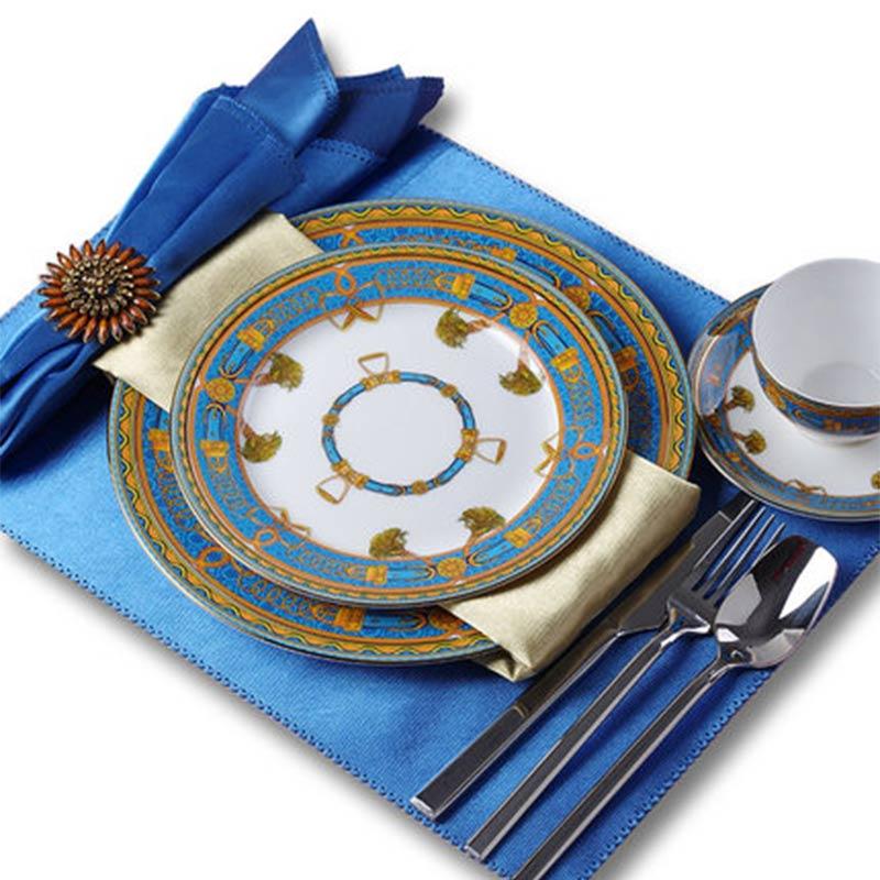 European ceramic plate home steak plate 10 inch model room restaurant dining table Western plate cutlery set