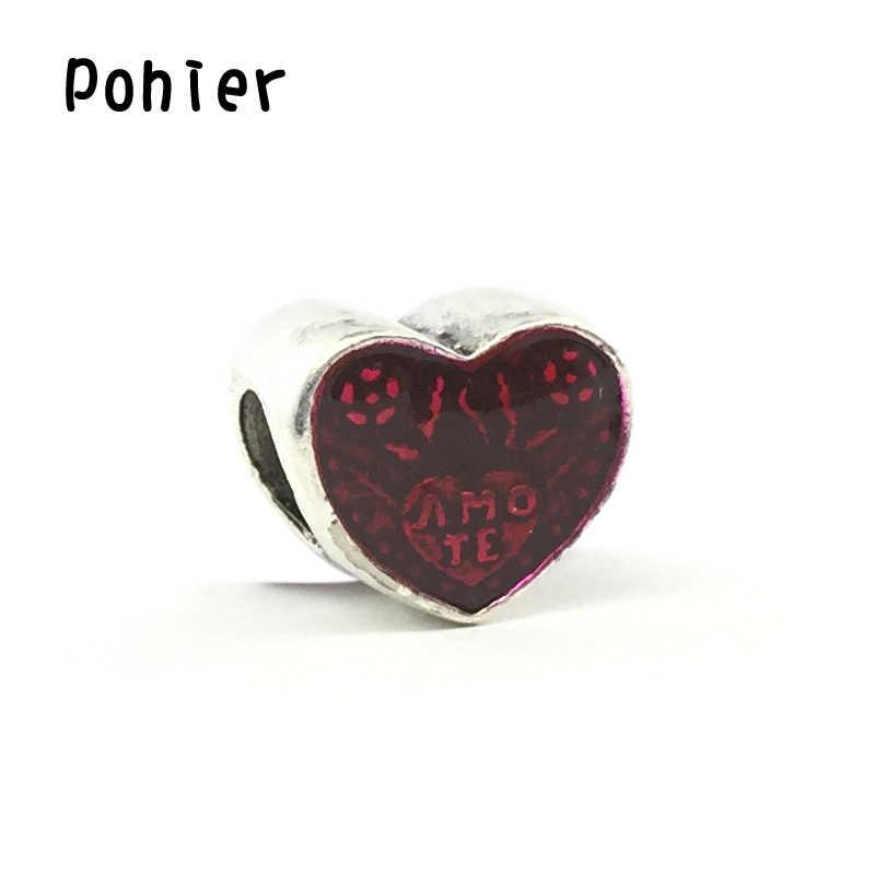לטיני אהבת לב, אדום אמייל לב תליון קסמי אירופאי חרוזים Fit קסמי צמידים & צמיד DIY תכשיטים