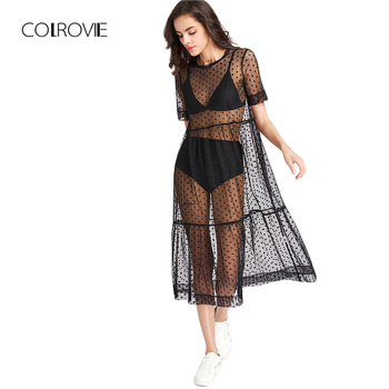 COLROVIE Tiered Sheer Dobby Mesh Dress Summer New Fashion Women Beach Style Boho Short Sleeve A Line - discount item  45% OFF Dresses