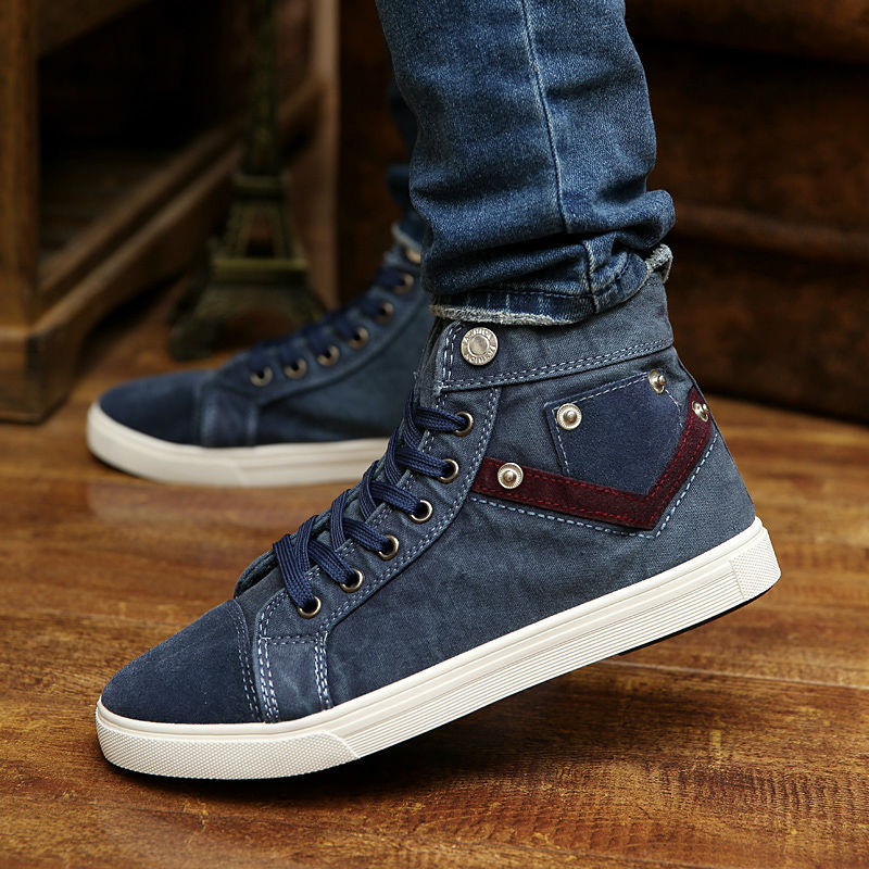 2018 Spring Autumn Man Casual Shoes Hot Men Rivets Decorative Breathable Washing Denim Shoes Male Retro Lace-Up Canvas Boots