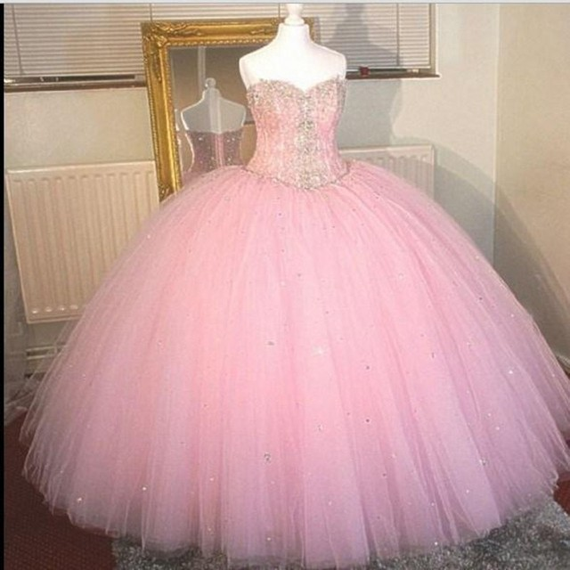 Beautiful Pink Quinceanera Dresses 2016 Sweetheart Rhinestone Long Sweet  Sixteen Ball Gown Birthday Party Vestido debutante 48539252ef76