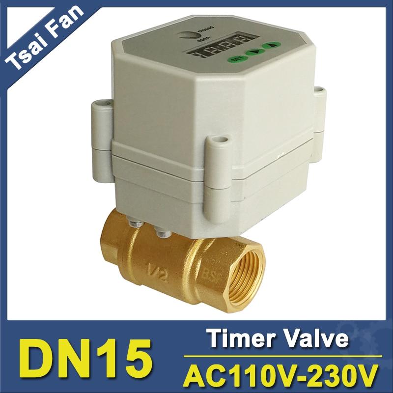 AC110V 230V BSP NPT 1 2 Time Controlled motorized ball Valve for garden air compressor Drain