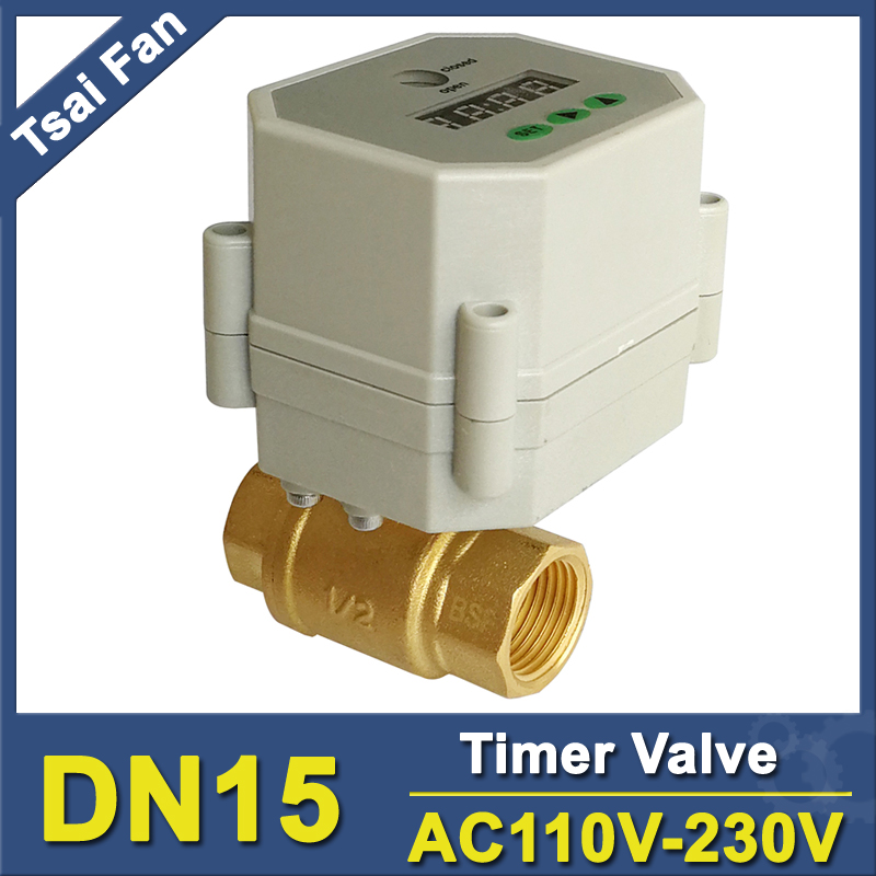 AC110V-230V BSP/NPT 1/2'' Time Controlled motorized ball Valve for garden air compressor Drain water air pump water control 11 4 time control electric valve full port ac110v 230v bsp npt thread timer valve for irrigation