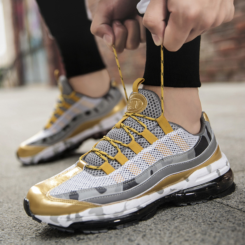 Size 39-46 Men Outdoor Sport Sneakers Shoes Mesh Breathable Athletic Shoes Male Trainers Gold Black Running Shoes Lace Up NO-02Size 39-46 Men Outdoor Sport Sneakers Shoes Mesh Breathable Athletic Shoes Male Trainers Gold Black Running Shoes Lace Up NO-02