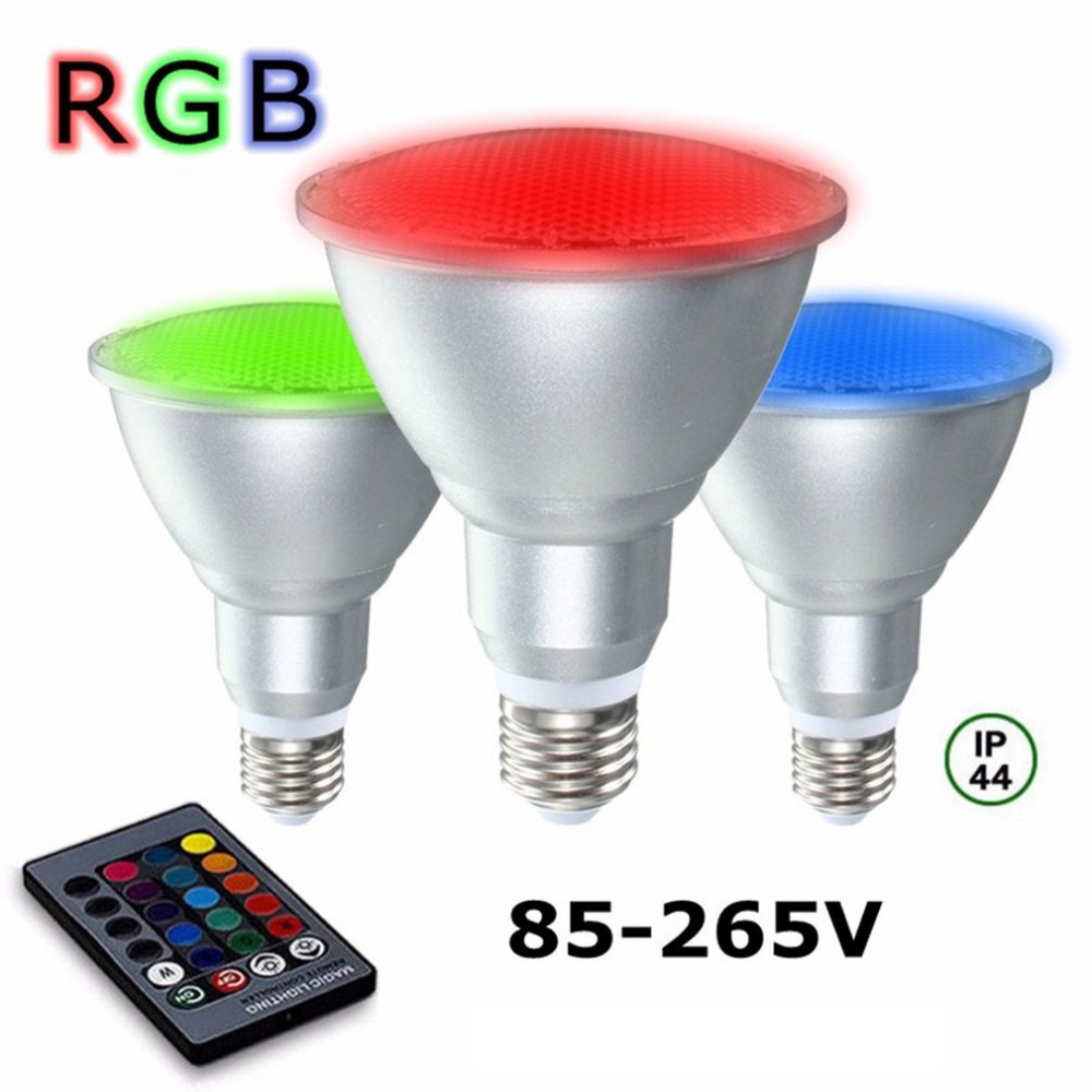 20W E27 Dimmable RGB LED Light Color Changing Bulb 85-265V Waterproof Outdoor with Remote Control Party Pub Club Decor light bulb 16 colors wireless remote control 85 265v e27 led 20w rgb changing light bulb h028