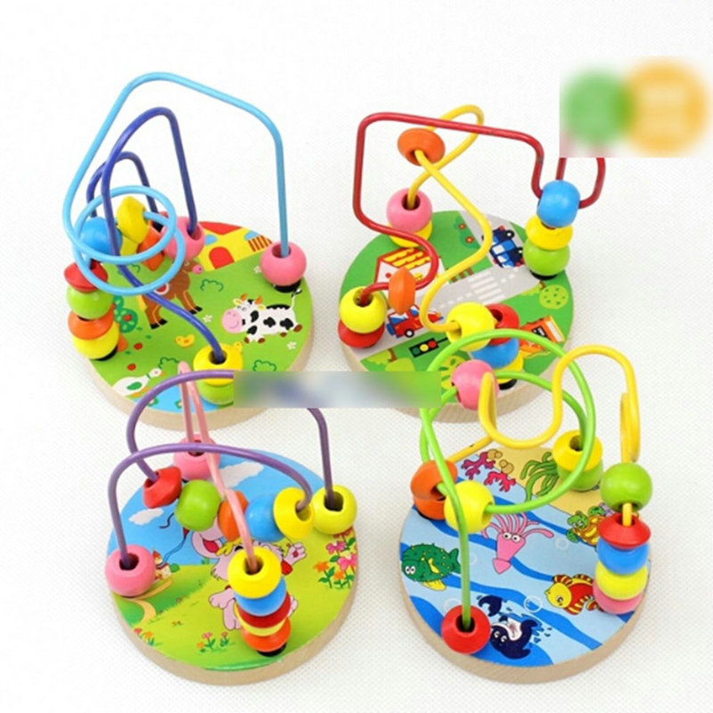 2016 New Kids Toddler Baby Candy Color Wooden Toy Mini Around Beads Wire Maze Educational Game
