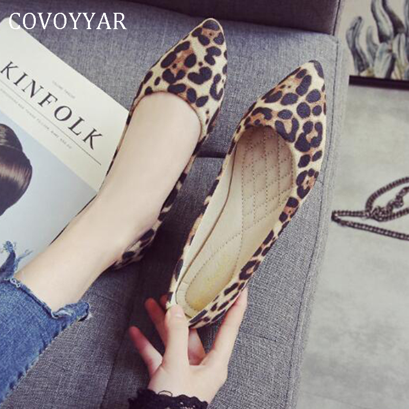 COVOYYAR 2019 Leopard Women Shoes Spring Pointed Toe Woman Ballet Flat Shoes Plus Size 34-43 Sexy Slip On Lady Shoes WFS426