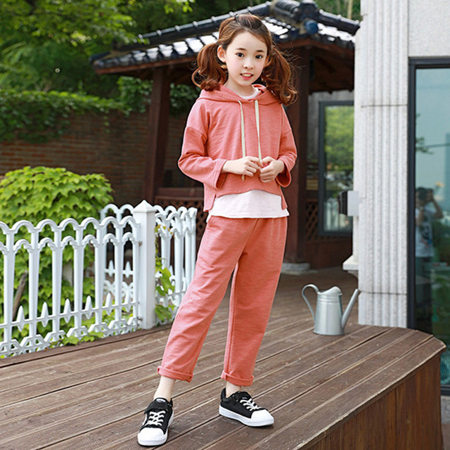 2017 autumn girls fashion outfit 2 pcs clothes orange halloween costumes clothing set for teens age56789