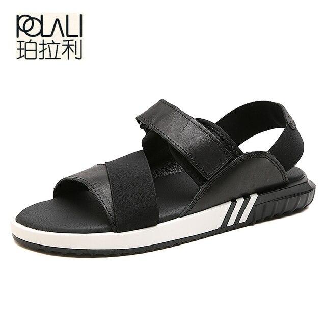 59dcd25e0d3a POLALI 2018 Summer Leather Men Sandals Black Simple Hand Sewing Men Shoes  Comfortable Beach Shoes Men Sandals size 38-47