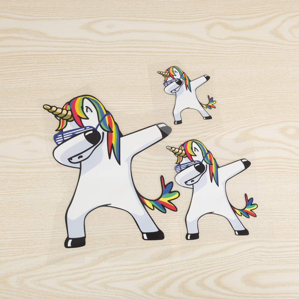 Fghgf dabbing unicorn ironing patches stickers for parent child diy heat transfer clothes funny animal patch washable appliques in patches from home