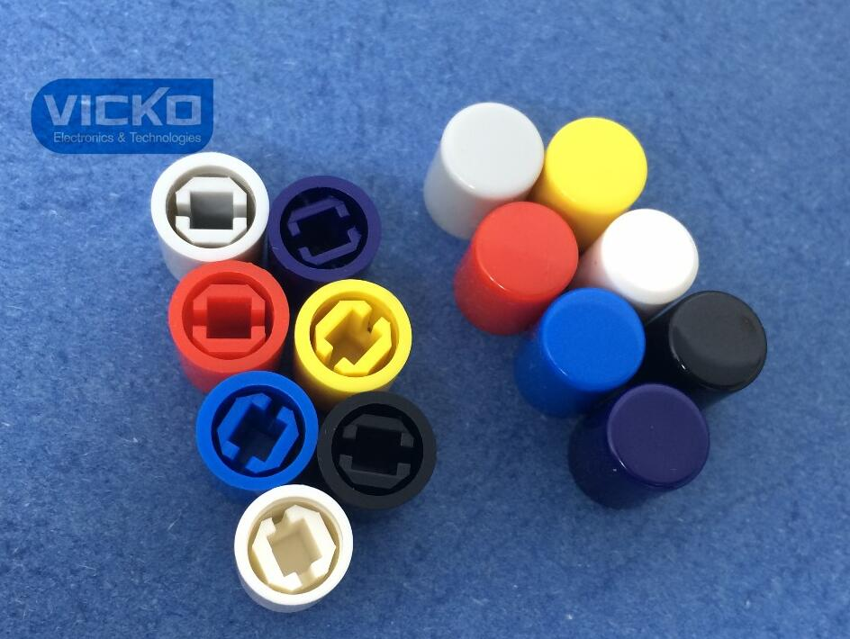 [VK] 50 Pcs A11 8.5*10.5mm 3.1mm Tactile Push Button Switch Cap,Push Switch Button Cap For Uni-directional Seven Color