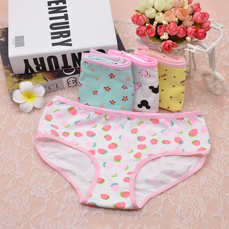 3-Pack Teenage Lace Pants Underpants Floral Young Girl Briefs Candy Colors For Girls Short Panties Kids Underwear 8-16Y