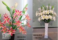 Silk lily bud with vase ,Craft fabric lily,Home Wedding Party Event floor mounted , artificial lily bouquet , 0391