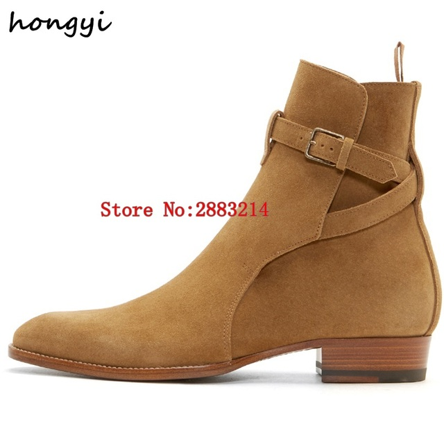 e7148725d34e5b man chelsea boots leather buckle ankle boots fashion trend low heel party  dress shoes suede leather male booties shoes