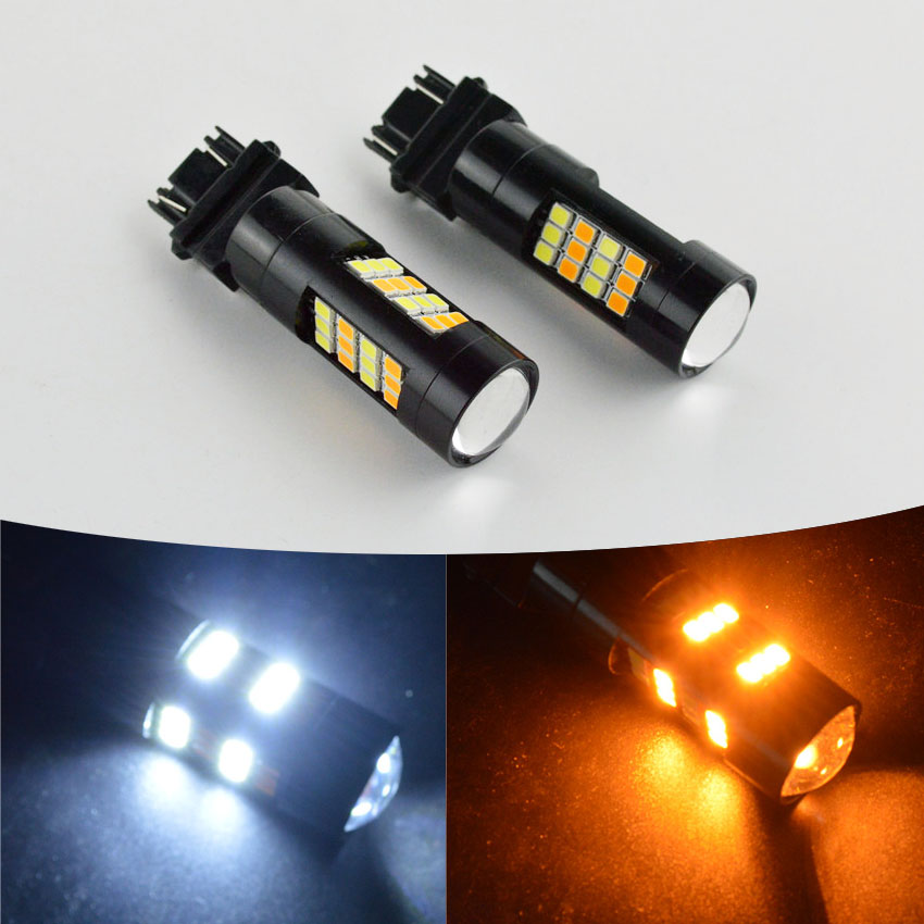 2pcs Dual Color 3157 4W 2835 High Power Amber White 42 LED Switchback Light Bulbs 12-24VDC