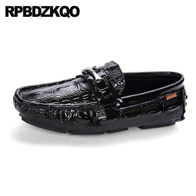 85b070d76e ... Crocodile Metal Patent Leather Shoes Black Python Alligator Men  Designer Loafers Summer Driving British Style Soft ...