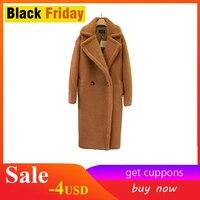 2018 new teddy coat faux fur long coat women lamb fur coat 4 color