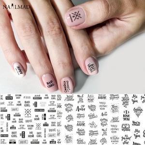 Image 1 - 1 sztuk 3D paznokci suwak czarny rosja naklejka w kształcie litery tekst napis klej Manicure porady paznokci dekoracje artystyczne