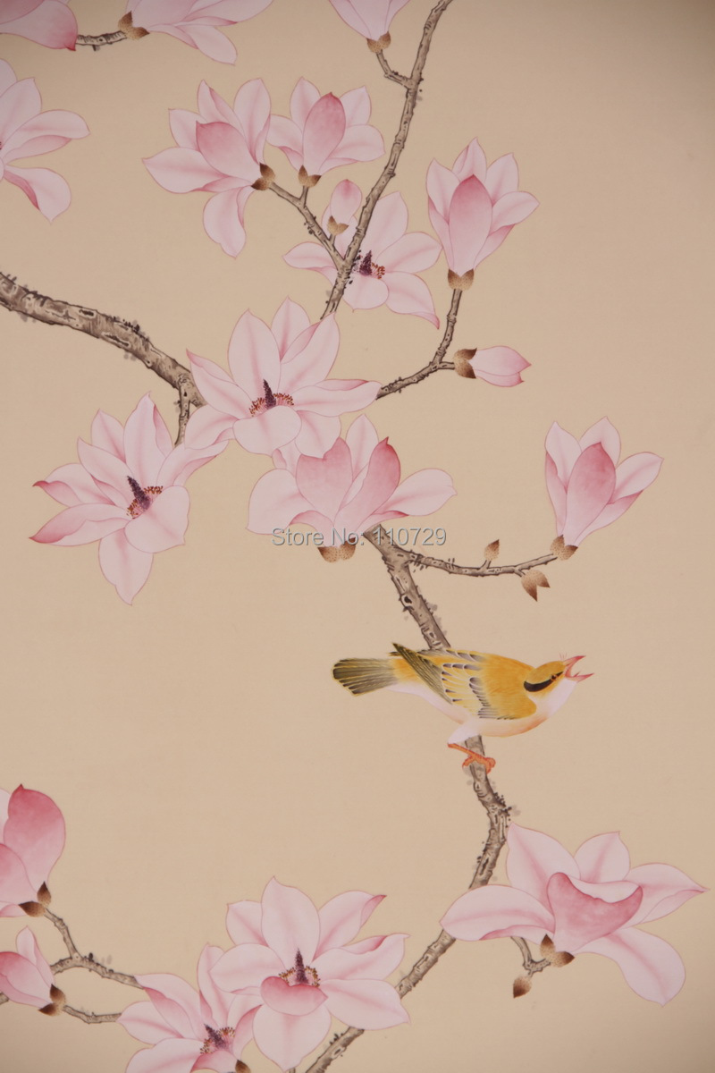 Hand-painted silk wallpaper painting Magnolia flower with birds hand painted wall paper wallcovering many arts/colors optional