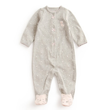 3-12 Months One-piece Baby Girl Dot and lace Rompers Newborn Baby Cartoon Foot Outfit Gray Blue Red Boys Rompers Baby Clothes