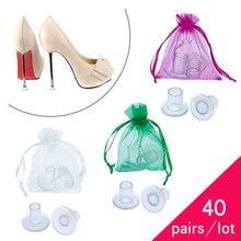 Capas protetoras de calcanhar para noivas, 40 pares/lote de salto alto, antiderrapante, de silicone, stiletto, para dança, casamento, festa