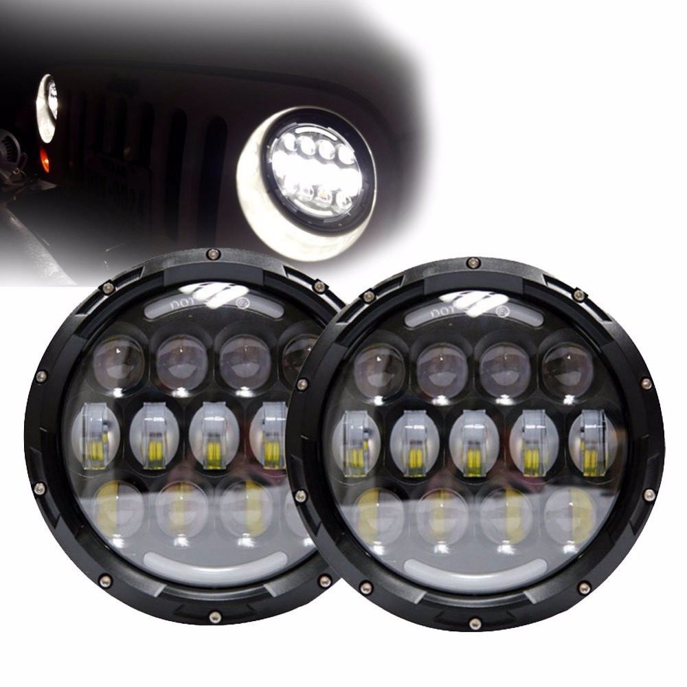 Pair 78W 7 LED Headlight H4 H/L 7INCH Healight For jeep wrangler