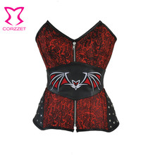 цена на Steampunk Red&Black Jacquard Bat pattern Overbust Corset Bustier Top Sexy Steel Boned Corselet Gothic Clothes Corselet Gothique