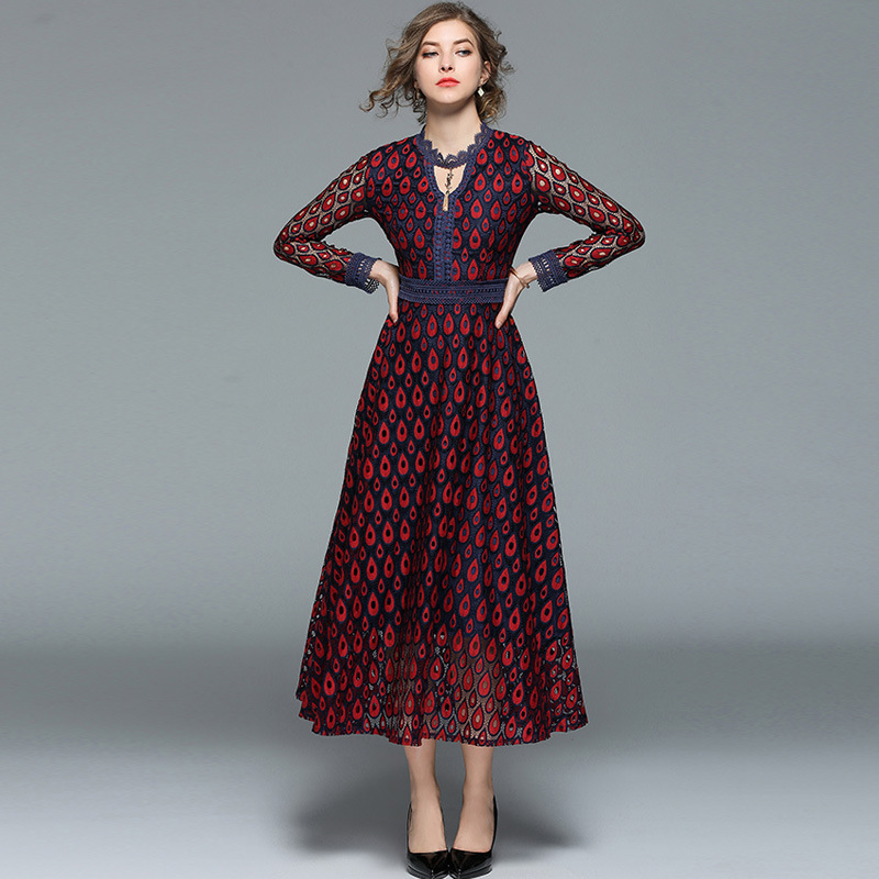 High end women s spring openwork peacock embroidered long lace stitching long sleeved dress holiday style